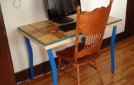 """<p style=""""text-align: center;""""><strong>Small Table with Blue Legs</strong></p>"""