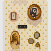 "<p style=""text-align: center;"">Genevieve Gaignard<br /><em>W.W.J.D.</em>, 2017<br />Vintage wallpaper, found framed images, pins, doilies, original drinking fountain sign, found mirrors, rosary, and porcelain figurine<br />52.5 x 36 inches</p>"