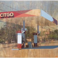 "<p>David Linneweh. <em><strong>Temporal (Citgo)</strong></em><strong>, 2014.</strong> Transfer, oil, and graphite on panel, 15"" x 19.5""</p>"