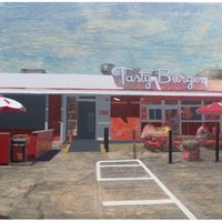 "<p>David Linneweh. <em><strong>Temporal (Tasty Burger)</strong></em>, <strong>2014</strong>. Transfer, oil, and graphite on panel, 10.75"" x 16""</p>"