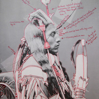 """<p>Title: Peelatchiwaaxpáash / Medicine Crow (Raven)</p> <p><em>Artist-manipulated digitally reproduced photograph by C.M. </em></p> <p><em>(Charles Milton) Bell, National Anthropological Archives, Smithsonian Institution</em></p> <p>Medium: Pigment Print on Archival Photo-Paper</p> <p>Size: 24"""" x 16.45"""" with additional 1"""" border</p> <p>Date: 2014</p>"""