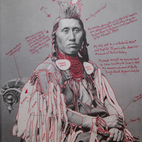 """<p>Title: Déaxitchish / Pretty Eagle</p> <p><em>Artist-manipulated digitally reproduced photograph by C.M. </em></p> <p><em>(Charles Milton) Bell, National Anthropological Archives, Smithsonian Institution</em></p> <p>Medium: Pigment Print on Archival Photo-Paper</p> <p>Size: 24"""" x 16.45"""" with additional 1"""" border</p> <p>Date: 2014</p>"""