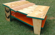 """<p style=""""text-align: center;""""><strong>COFFEE TABLE WITH ORANGE SHELF / SOLD</strong></p>"""
