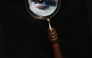 """<p>Oil painting on magnifying glass</p> <p>3"""" diameter</p>"""