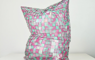 "<p>Green and Pink Pillow    perspex     2018     21 x 20 x 14""</p>"