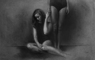 """<p><em>'Gloaming'</em></p> <p>22.5""""x15""""</p> <p>Charcoal and pastel on hand-toned paper</p>"""