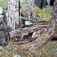 """<div style=""""text-align: center;"""">Western Canada Landscape (outside UBC)</div> <div style=""""text-align: center;""""></div> <div style=""""text-align: center;"""">Acrylic, ink+graphite on 16""""by20"""" panel. 2017-18.</div>"""