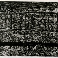 """<p align=""""center"""">Exterior With Residues.</p> <p align=""""center"""">9""""by12"""" mezzotint on 15""""by22"""" paper. 2<sup>nd</sup> state. 2018.</p>"""