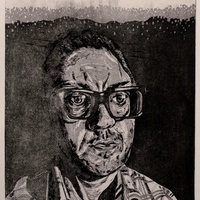 """<p align=""""center"""">Etching Studio Portrait</p> <p align=""""center"""">12""""by9"""" drypoint with aquatint on 22""""by15"""" paper. 3rd state. 2018.</p>"""