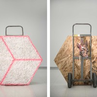 <p><em><strong>Pit Pony Kit</strong></em></p> <p><br />Cast plaster and marble rock, osb, spray paint, two-wheel dolly, donkey mask, stick, nylon, ink</p> <p><br />2018</p> <p><br />48&rdquo; x 38&rdquo; x 38&rdquo;</p>