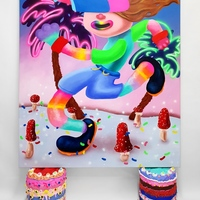 <p><em>Don't care Bear<br /></em><br />Acrylic and airbrush on 150 x 130cm canvas, <br />resting on 2 cakes, each ca 34 x 32cm, acrylic, glitter, polystyrene beads, foam clay and resin on hard coated PU<br />2019</p>