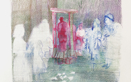 """<p><em>poor valley funeral</em>, 2019</p> <p>Ink and colored pencil on paper</p> <p>24"""" x 18""""</p>"""