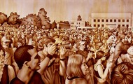 "<p>Rally in Sepia #1, 2006&nbsp;(original available upon request, 20 x 72"")</p>"