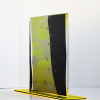 """<p style=""""text-align: center;""""><span><strong>&Iacute;S MIRЯOR - Neon Yellow Fluorite</strong>&nbsp;- 2020, 16""""x18""""x4""""<br /></span><span>2 Layers of Screenprint on paper and plexiglass.</span></p>"""